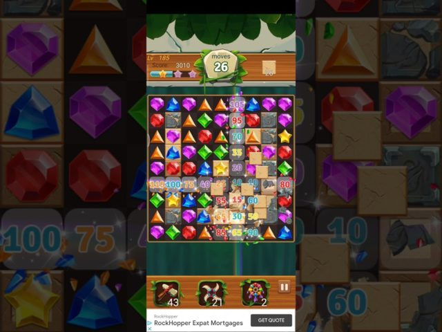 Jewels Jungle 💎 Level 185 ⭐⭐ 2021 – Jewels & Gems Match 3 Puzzle no Booster 👑 Android Gameplay ✅